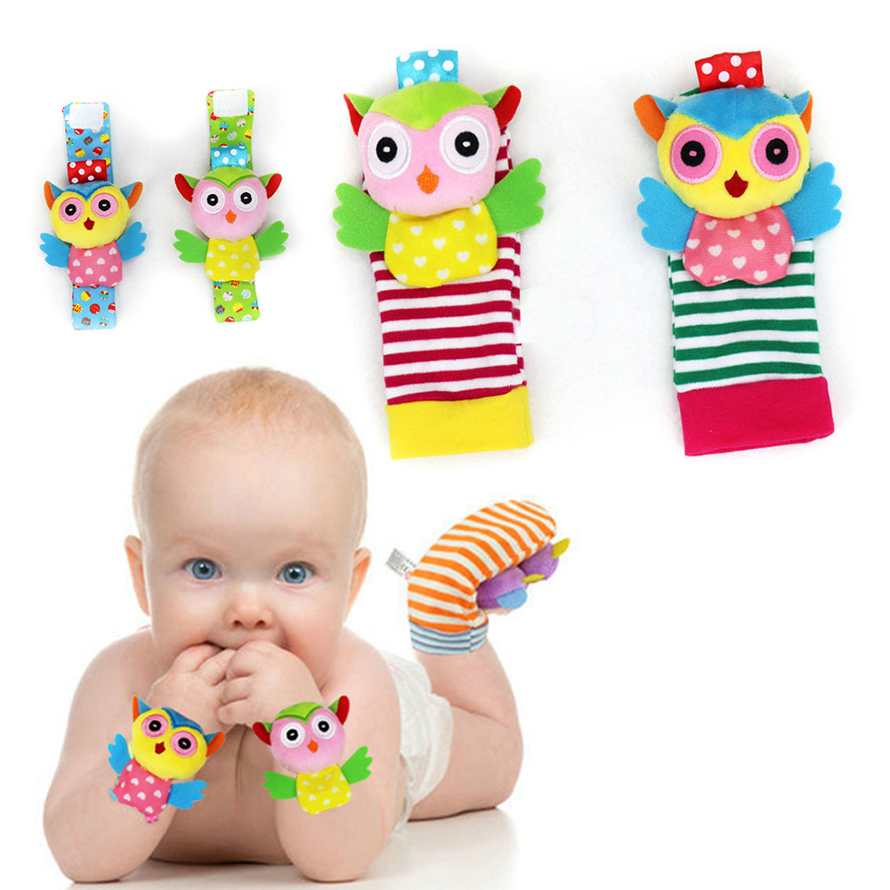 4pcs/Set Rattle Wrist Sock Baby Toy Infant Kids Cute Cartoon Animal Early Education Soft Hand Bell Rattle Stuffed Plush Toys