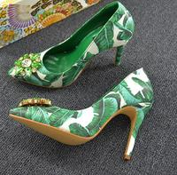 Spring Newest High Heel Shoes Pointed Toe Slip On Dress Heels Green Banana Leafs Designs Stiletto