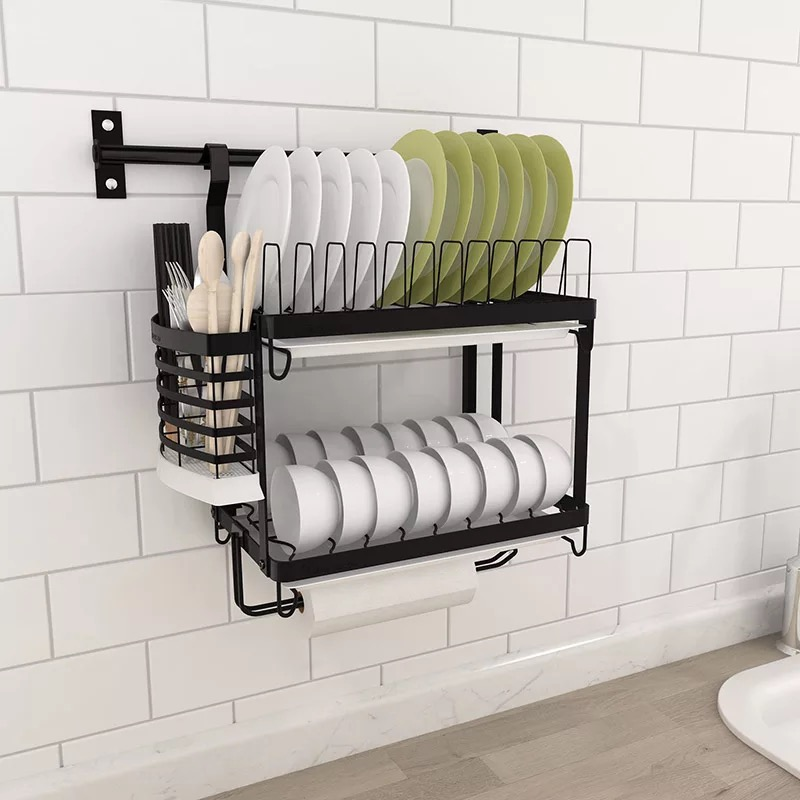 304 Stainless Steel Dish Rack Wall Kitchen Shelf Drain Bowl Cutlery Cup Holder Dish Drainer Rack with Tray Kitchen Organizer