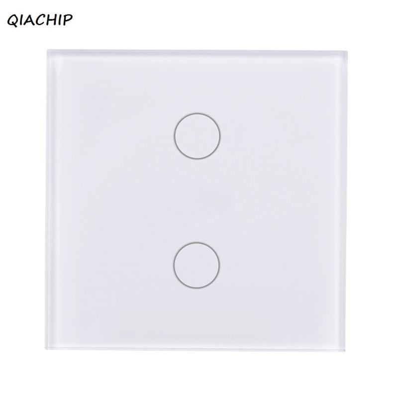 EU Plug WiFi Smart Switch 2 Gang Light Wall Switch Touch Screen Crystal Tempered Glass Panel APP Control Work with Amazon Alexa smart home touch control wall light switch crystal glass panel switches 220v led switch 1gang 1way eu lamp touch switch