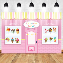 Mehofoto Ice Cream Parlor Shop Photography Backdrop Sweet Child Birthday Photo Background Pink Party Banner Supplies