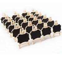 24 шт мини деревянная доска сообщение прямоугольный сланцевый доска карты Памятка этикетка знаки цена цифра Таблица