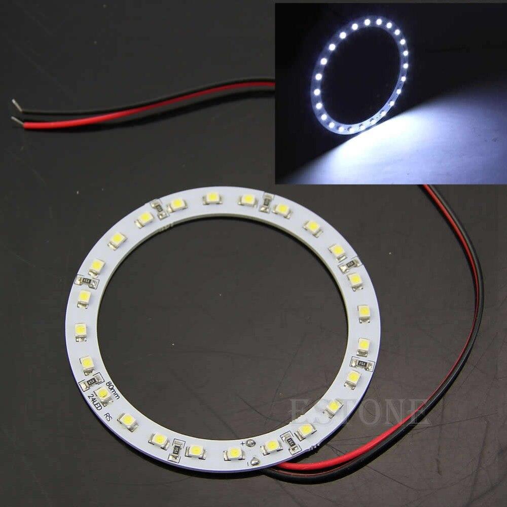 2 шт. 12 В 24 SMD LED 80 мм глаза ангела яркий белый кольцевой автомобильный светильник