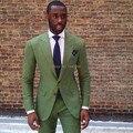 Nueva Llegada 2 Botón Alcanzó Solapa Verde Trajes Para Hombres Traje de Boda Del Novio Esmoquin Mejor Hombre de los Padrinos de Boda A Medida (Jacket + Pants + Tie)