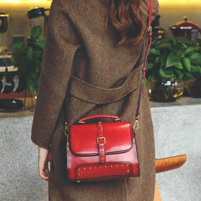 2018 Womens Handbag Handmade Small Sling Shoulder Messenger Bag Cowskin Fashion Ladies Hand Bags Shell Red Summer Female Bag