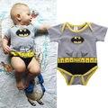 Infantil Da Criança Do Bebê Dos Miúdos Das Meninas do Menino Batman Cinto Padrão Impresso Macacão Bodysuit Traje 3-18 M