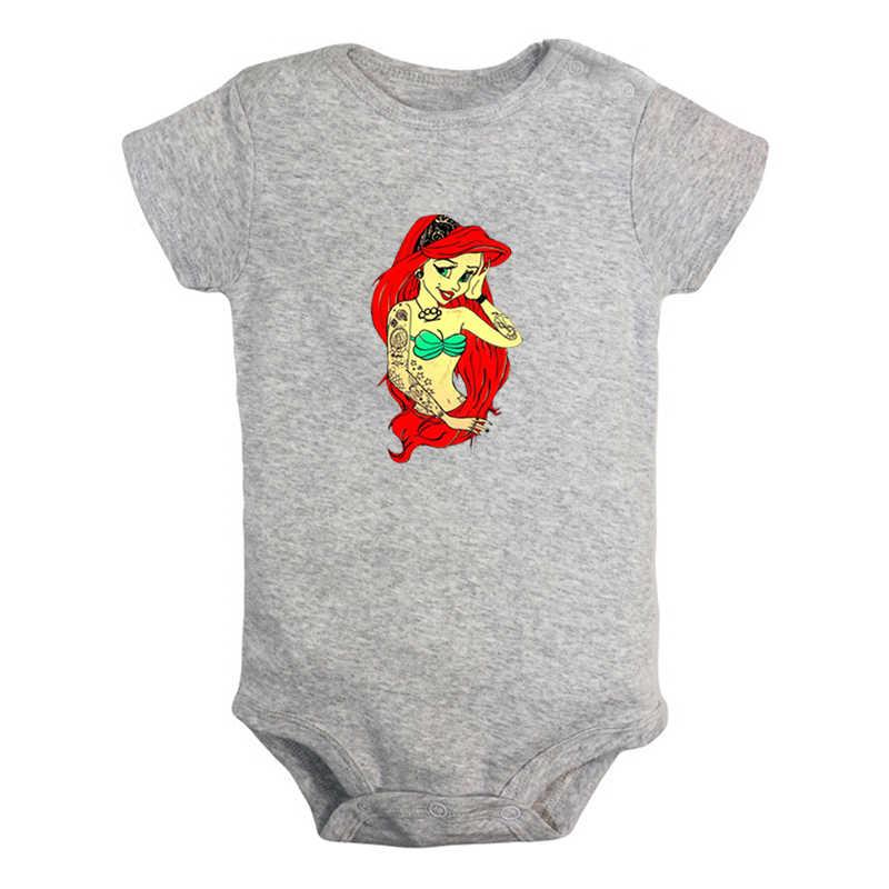 Prinses Ariel De Kleine Zeemeermin Tattoo Ontwerp Pasgeboren Baby Jongens Meisjes Outfits Jumpsuit Afdrukken Baby Bodysuit Kleding