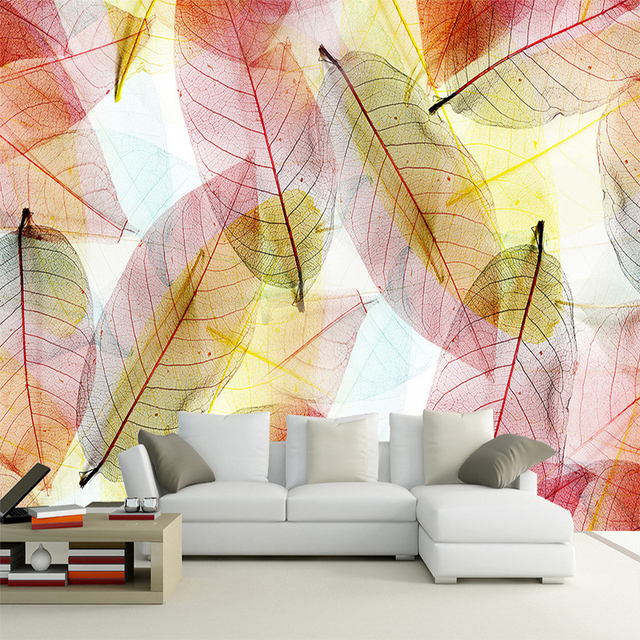 abstract art transparent colorful leaf 3d mural wallpaper living