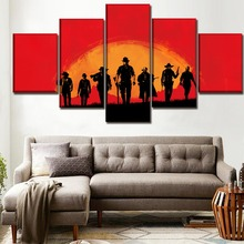 Canvas Paintings Wall Art Decor Framework 5 Panels Games Red Dead Redemption 2 Poster Rockstar Picture Modern Print Type Artwork