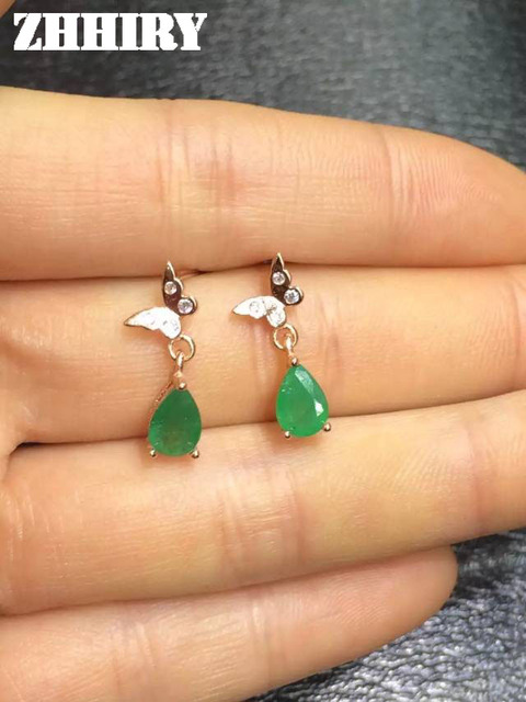 ZHHIRY Natural Green Emerald Earring Genuine Solid 925 Sterling Silver Real Gem Earrings Women Stone Fine Jewelry