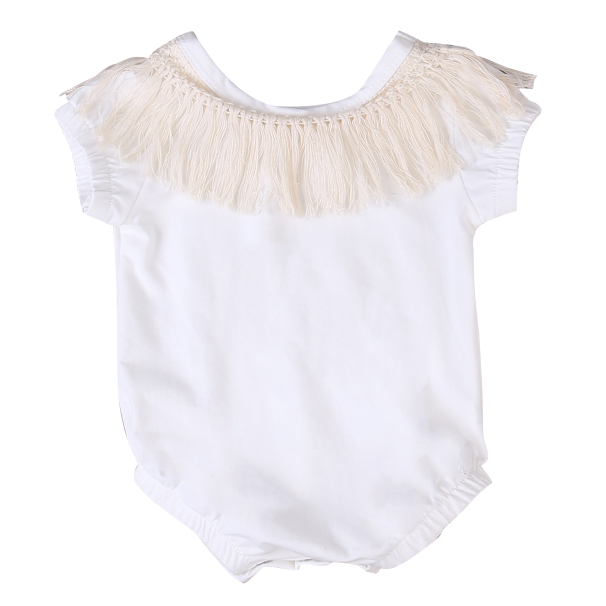 2017 Cute r Newborn Infant Baby Girls Cotton Tassel Rompe Short Sleeve Romper Jumpsuit Outfits Clothes