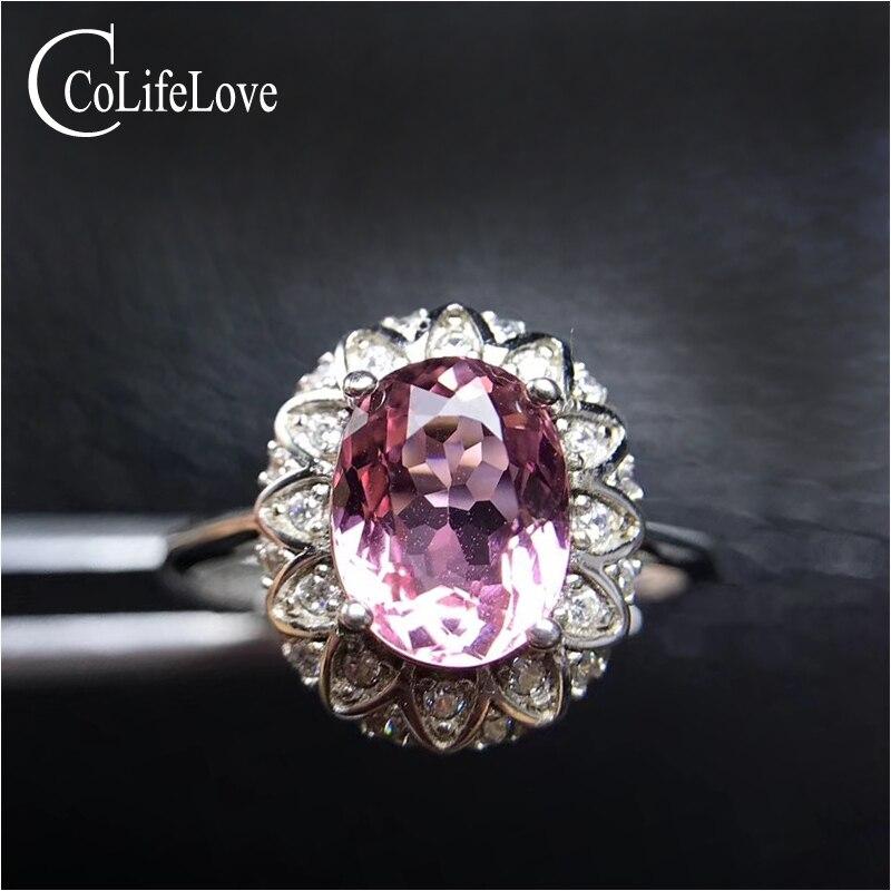 Bague tourmaline rose naturelle 100% pour fiançailles 6mm * 8mm 0.8 ct VS grade tourmaline bague en argent 925 bijoux tourmaline en argent