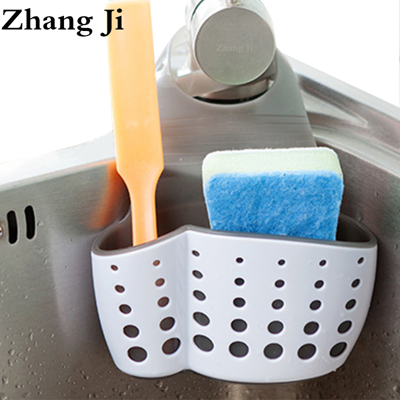ZhangJi High Quality TPR Rubber Thicken Sink Storage Kitchen Bathroom Accessories Drain Basket Shelf Hanging Rack Holder
