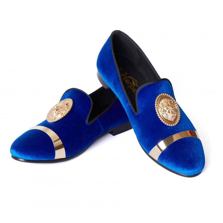 Harpelunde Men Wedding Dress Shoes Slip On Blue Velvet Loafer Slippers With Gold Plate Size 6-14