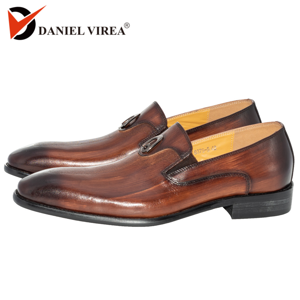 Bureau à la main d'affaires robe de mariée mocassins lavage à la main couleur métal décorer costume de luxe formel en cuir véritable hommes chaussures