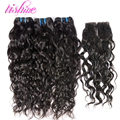 Indian Virgin Hair With Closure Wet and Wavy Water Wave Virgin Hair with Lace Closure Human Hair Weft with Closure Raw Curly