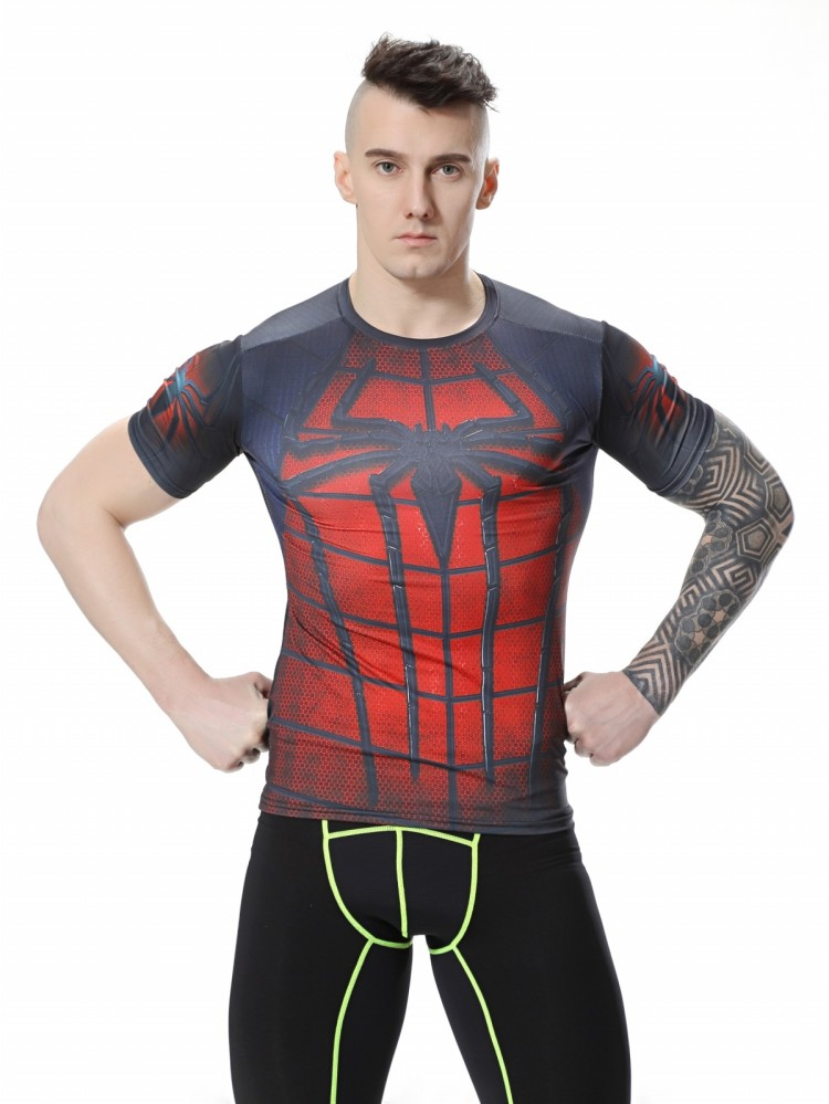 Red Plume Mens Compression Spider-Man Movie Super hero T-Shirt , Sports Exercise Fitness Movement T-shirt