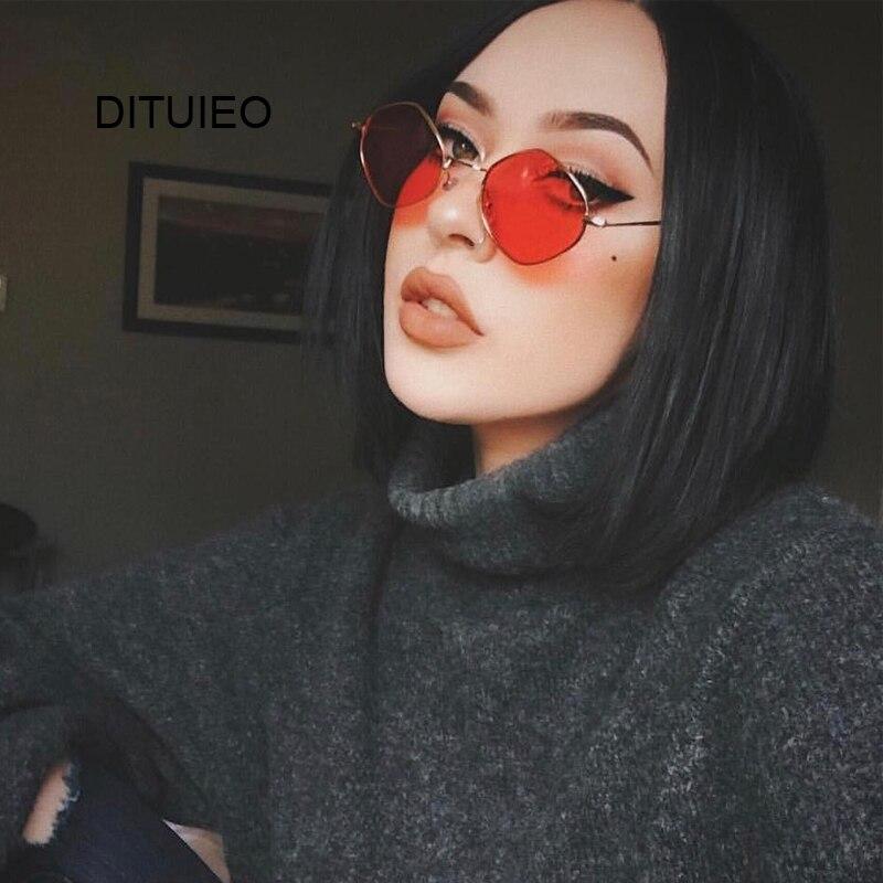 Red Retro Sunglasses Women Small Frame Polygon Luxury Brand Designer Blue Pink Clear Lens Sun Glasses Female Oculos De Sol