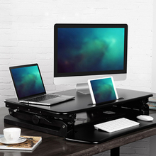Loctek M1 EasyUp Height Adjustable Sit Stand Desk Riser Foldable Laptop Notebook/Monitor Holder With Keyboard Tray
