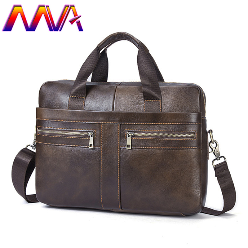 MVA 100% genuine leather men briefcase women laptop bag of cow leather men shoulder bag for notebook shoulder bag male briefcase