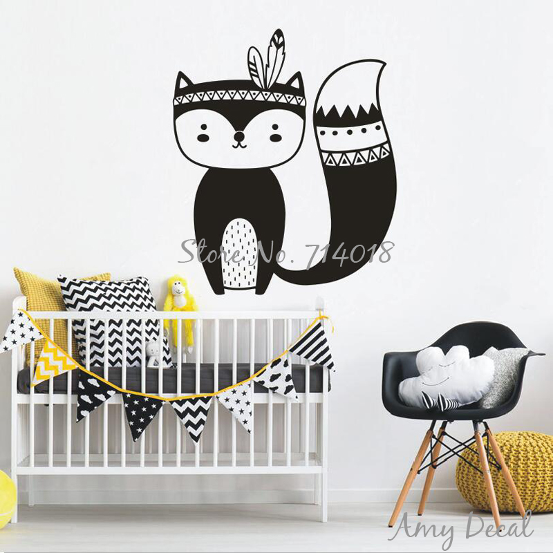 Tribal Fox Wall Decal Cute Woodland Fox Wall Sticker For Kids Room Nursery Art Tattoo Christmas Decor Gift Vinyl Murals Ja734 Sticker For Kids Room Wall Stickers For Kidswall Sticker Aliexpress