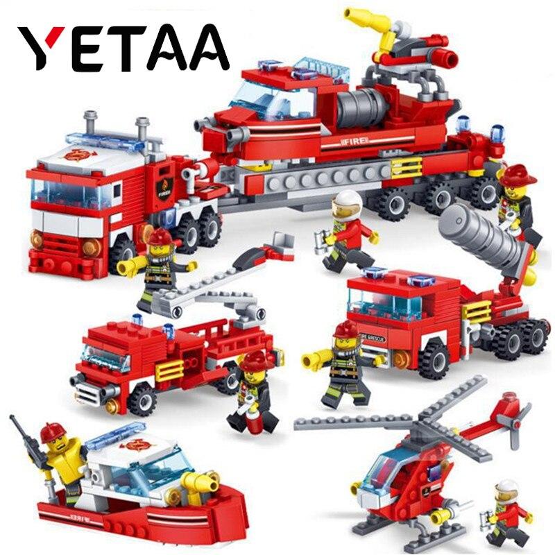 YETAA Legofigure Block Gifts Bricks FireFighting Blocks Toys for Children Truck Helicopter Firefighter Minecraft Building Blocks