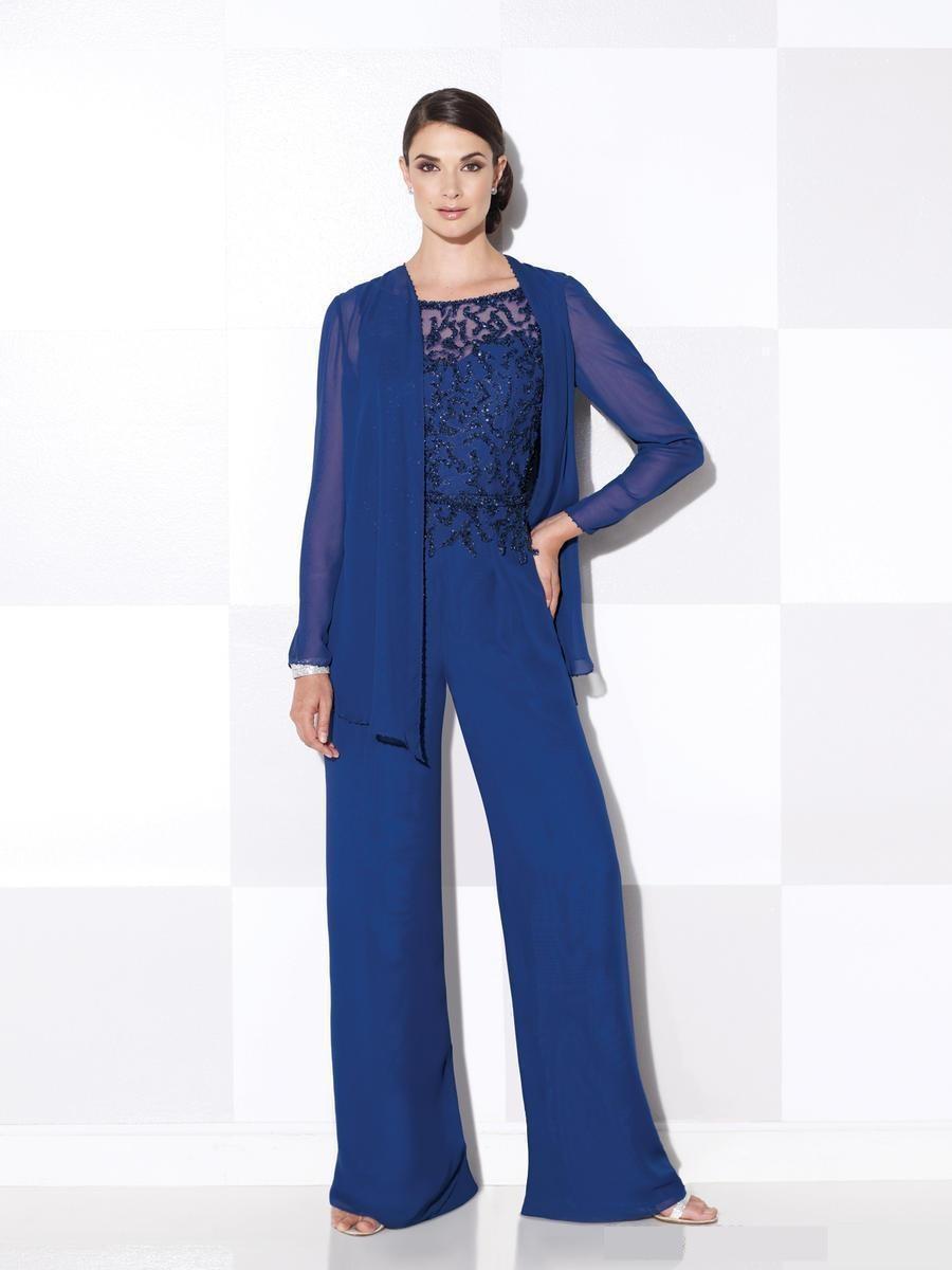 430a64f64 Encaje Azul Real Madre de Trajes Pantalón Pijama de Cuello Redondo Señora de  Las Mujeres Trajes con Chaqueta Larga de la Señora Vestidos de Noche de  Baile ...