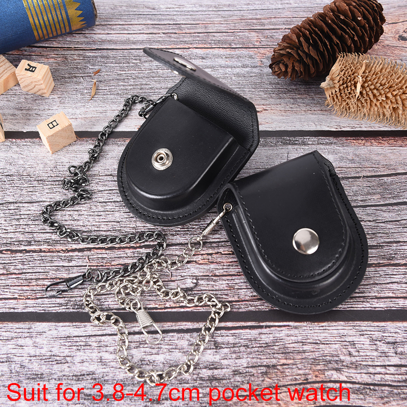 Vintage Classic Pu Leather Pocketed Watch Box Holder Storage Case Coin Pouch Storage With Chain