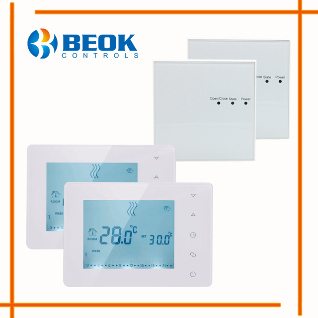 2 Pieces BOT X306 Wireless Touch Screen Room Thermostat Gas Boiler ...