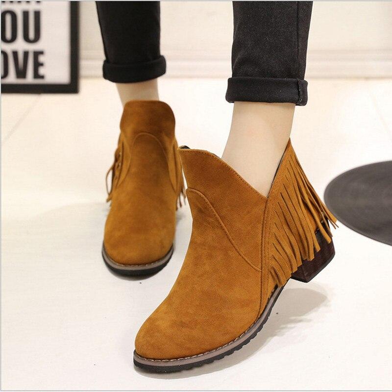a71b0a39 2015 Ladies invierno botines de gamuza con flecos mujeres Vintage franja de  la borla Botas tacones pisos Chelsea Botas Zapatos Mujer en Botines de  Zapatos ...