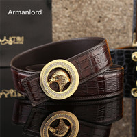 unisex belt crocodile belt stainless steel buckle with diamond Belt Men High Quality Crocodile leather woman belt luxury brand