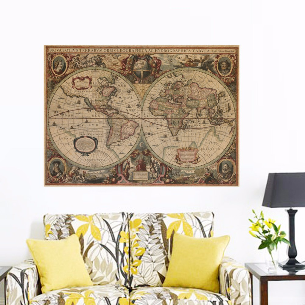 Creative retro kraft paper poster poster wall stickers for Poster mural 4 murs