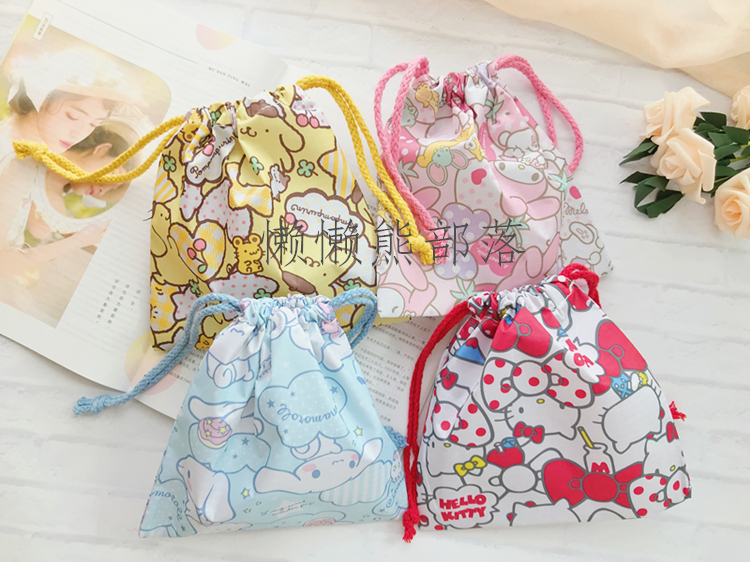 IVYYE 1PCS Melody Cinnamoroll Cartoon Drawstring Bags Cute Plush storage handbags makeup bag Coin Bundle Pocket