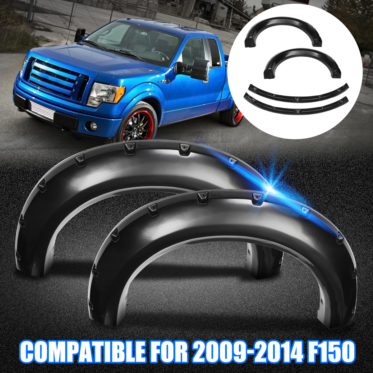 4Pcs Car Fenders Flares for Ford F150 Arch Wheel Eyebrow Trim PE Auto Modified Part Offroad Wheel Cover Arches Black car styling wheel eyebrow decorative wheel arch eyebrow stripe for ford kuga escape 2017 2018 car wheel modling trims