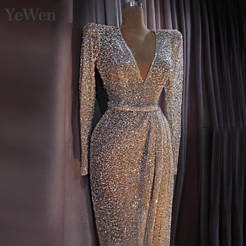 Dubai Designer Luxury Illusion Sexy   Evening     Dresses   2019 Nude Long Sleeve Beading Sequined   Evening   Gowns Real Photo
