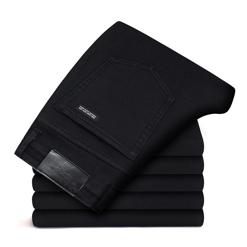 Черные Серые брендовые джинсы, брюки, Мужская одежда, Эластичные Обтягивающие джинсы, деловые повседневные мужские джинсы, узкие брюки, классический стиль - Цвет: All Black