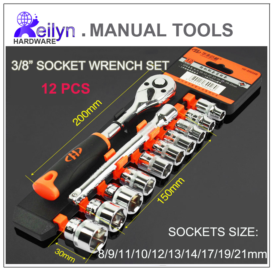 Free Shipping chrome-vanadium steel 3/8 socket wrench set 12 pcs sockets Ratchet Wrench set 3 8 10mm chrome vanadium ratchet wrench 3 8 spanner socket set crv extend handle