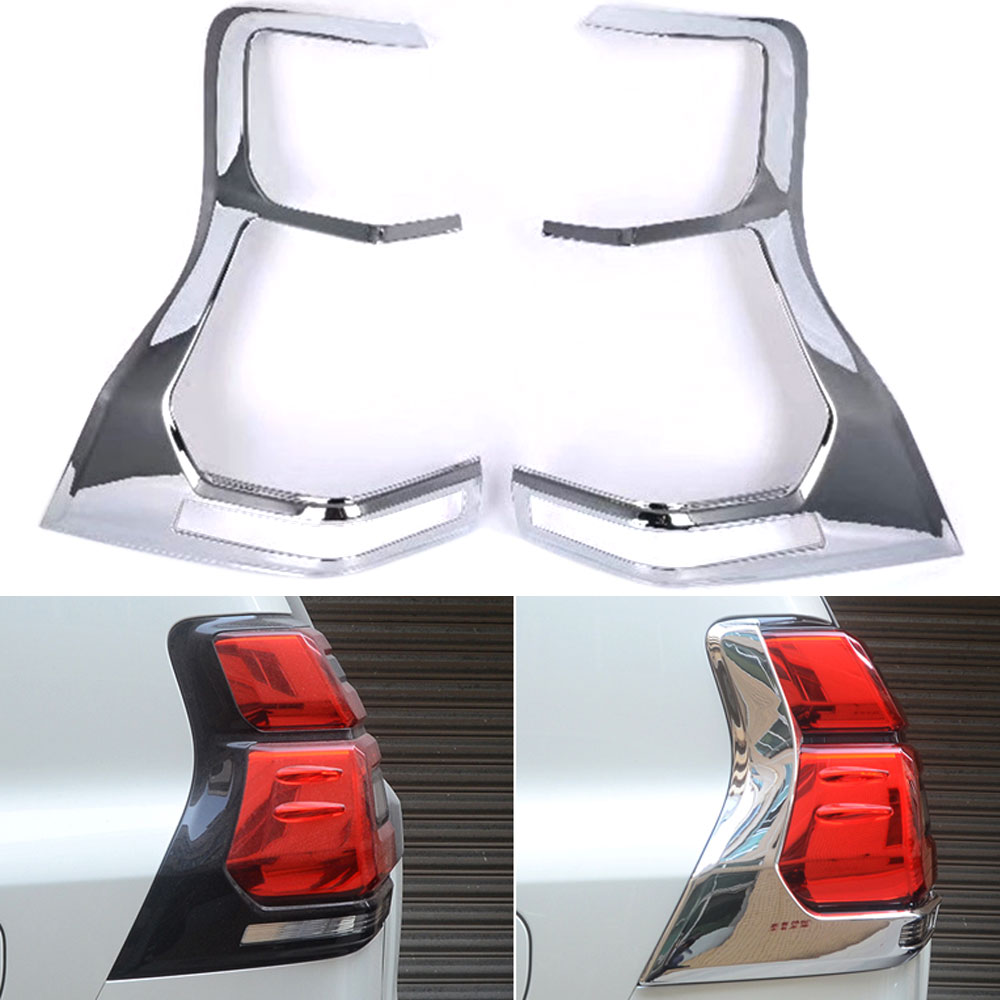 BBQ@FUKA Car Styling Accessories For Toyota Prado Overbearing 2018 Taillight Cover ABS Rear Light Overlay Lamp Trim