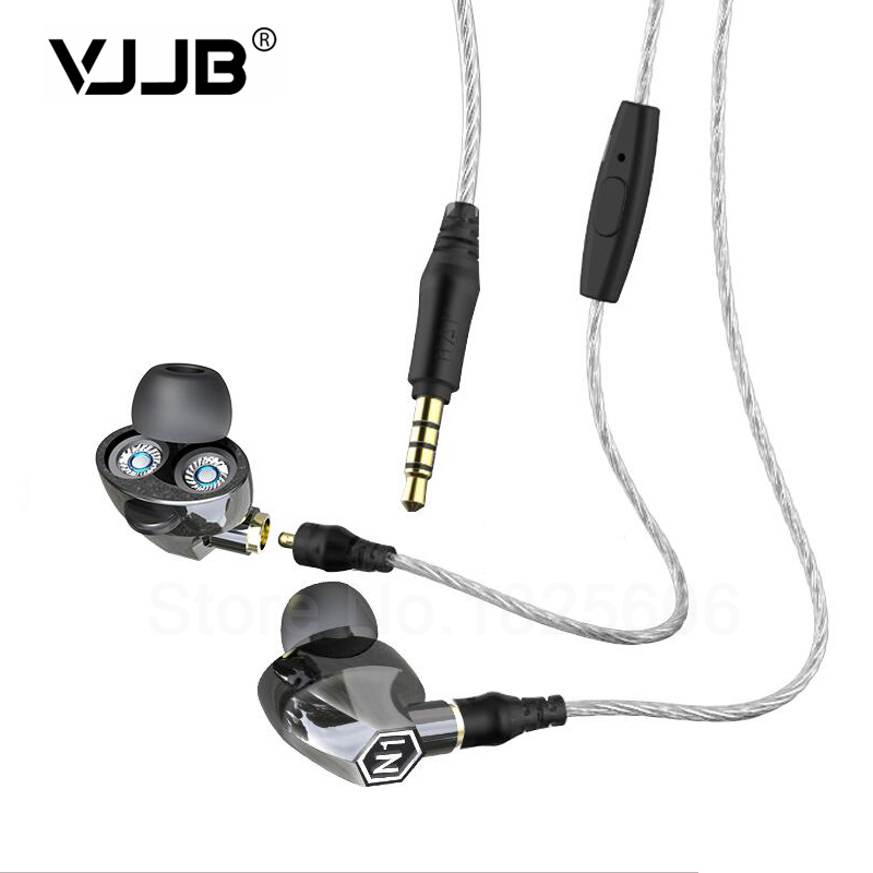 New VJJB N1 Double Unit Twin Drive In Ear Metal Earphones HIFI Bass Subwoofer Earphone With Mic Cable+Audio Cable