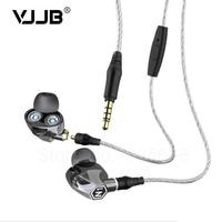 New VJJB N1 Double Unit Twin Drive In Ear Metal Earphones HIFI Bass Subwoofer Earphone With