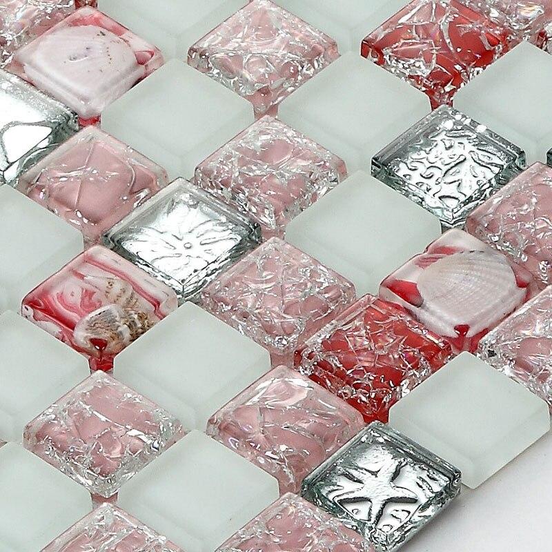 Rosa Sea Shell Mosaik Kristall Glas Keramik Fliesen Wohnzimmer TV  Hintergrund Wand Innen Dekoration Bad Gebäude
