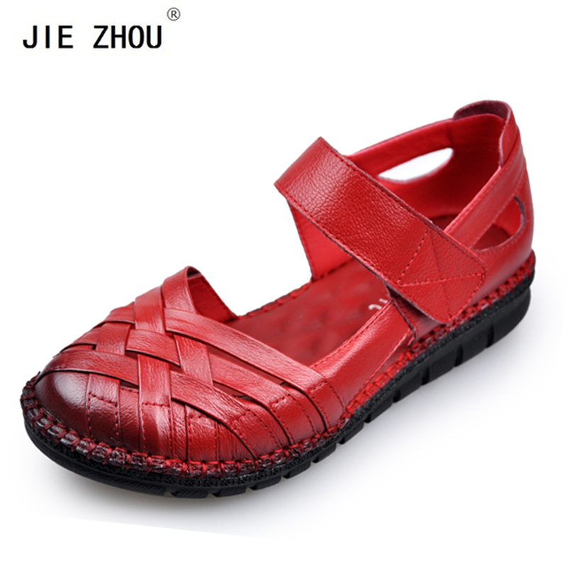 Summer Genuine Leather Women Sandals Pure Hand made Women Single shoes Soft Outsole shoes woman Flat