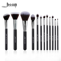 Pro MakeUp Cosmetic Set Eyeshadow Foundation Wood Brush Blusher Tools Black 12pcs Kits
