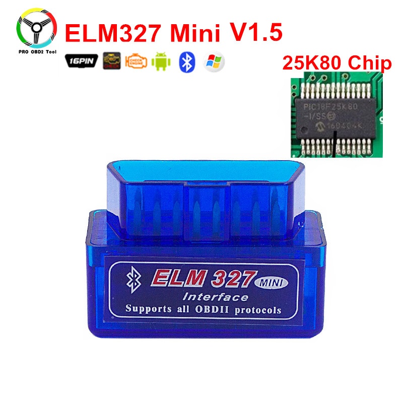 Auto Code Reader V1.5 MINI ELM327 Diagnostic Scanner PIC18F25K80 Chip 12 Languages Works Multi-Cars ELM 327 OBD2 CAN-BUS Tester