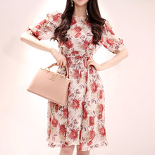 Summer Lace Up Floral Print Women Chiffon Dress O-neck Short Sleeve Ruffles Female A-line Dress 2019 Elegant Mid-length Vestidos(China)