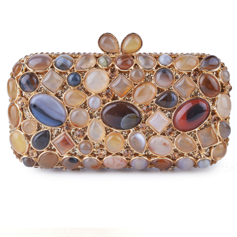 XIYUAN blue/gold 100% Natural stone women Cluth Evening Bag for party/wedding/cocktail bags clutch purse wallet bridal bags ladyXIYUAN blue/gold 100% Natural stone women Cluth Evening Bag for party/wedding/cocktail bags clutch purse wallet bridal bags lady