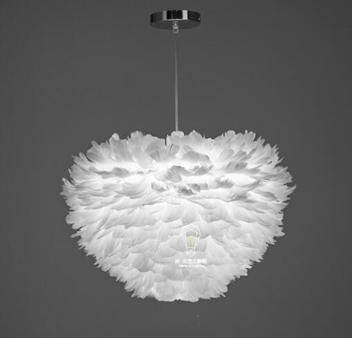 A1 American white feather pendant Lights Nordic modern simple living room bedroom creative children room art Pendant lamps