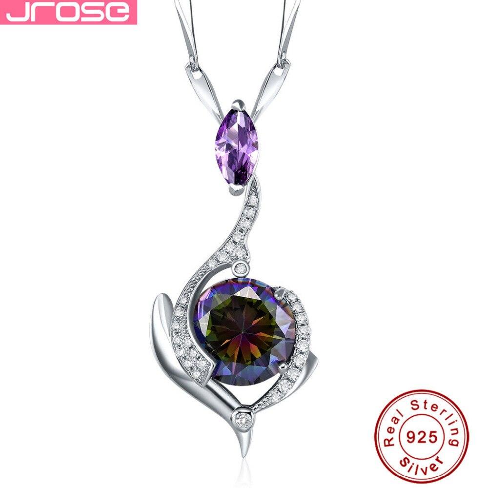 Jrose Genuine Rainbow Fire Mystic Topaz Amethyst Women Pendant Solid 925 Sterling Silver Vintage Jewelry Without