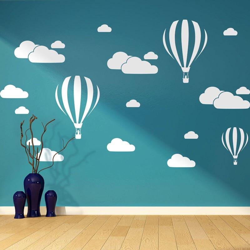 Nouveau Blanc Nuages Hot Air Ballon Sticker Mural Pour Enfants chambres Art Fond Stickers Muraux Décor À La Maison Salon Chambre Murale stickers