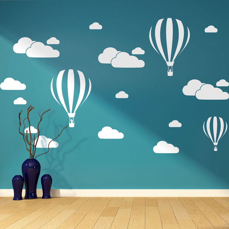 Nuovo Nuvole Bianche Hot Air Balloon Wall Sticker Per I Bambini camere Arte Background Wall Stickers Home Decor Soggiorno Murale decalcomanie